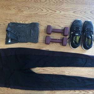 Gap// black with solid maroon stripe running pant